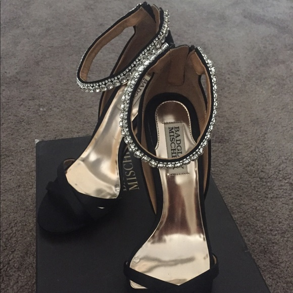 c01625429b Badgley Mischka Shoes | Jeweled Black Satin Size 6 12 | Poshmark